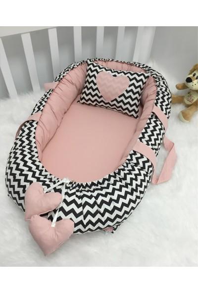 Modastra Baby Nest Siyah Zigzag Ve Pudra Kombin Lüx Baby Nest