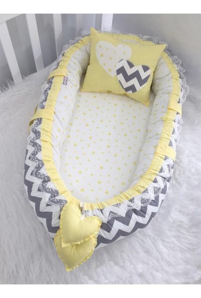 Modastra Baby Nest Gri Zigzag Ve Sarı Yıldız Kombin Lüx Baby Nest