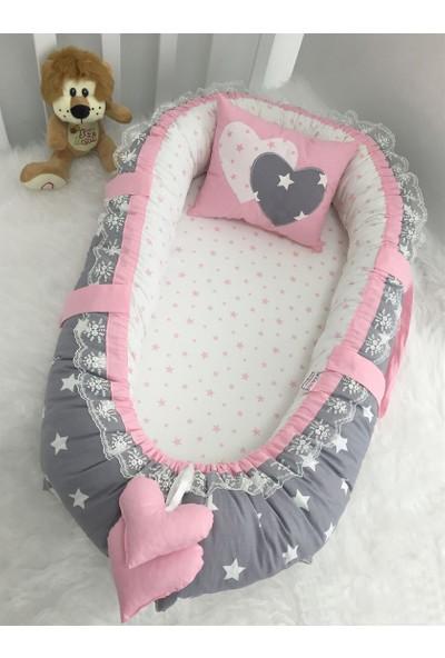Modastra Baby Nest Koyu Gri Ve Pembe Yıldız Kombin Lüx Baby Nest