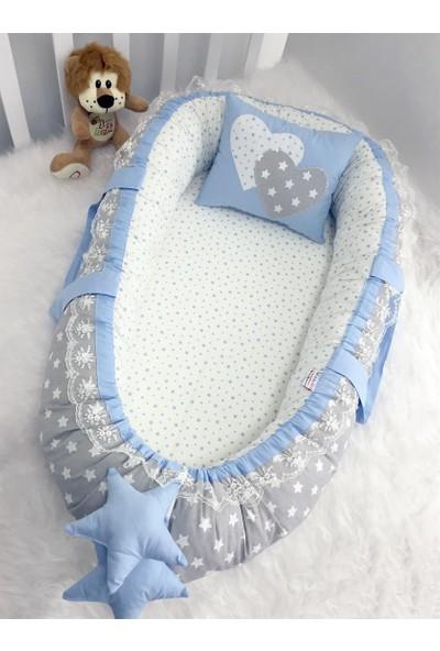 Modastra Baby Nest Gri Ve Mavi Yıldız Kombin Lüx Baby Nest