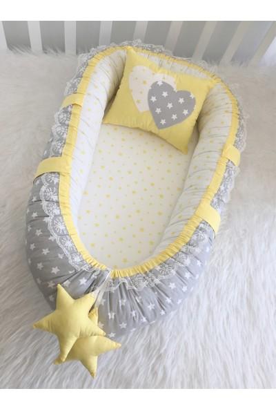 Modastra Baby Nest Gri Ve Sarı Yıldız Kombin Lüx Baby Nest