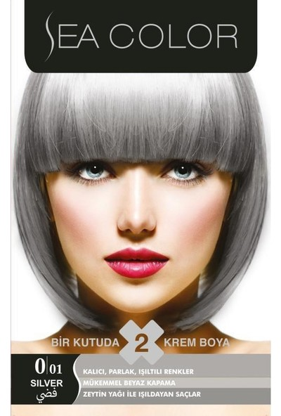 Sea Color 2'Li Krem Saç Boyası 0/01 Füme Gri