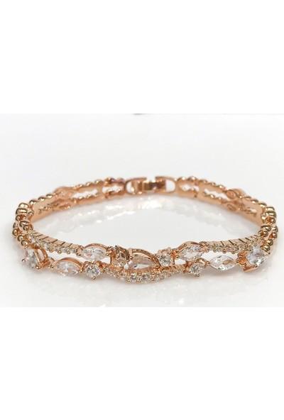 Magümüş Markiz Suyolu Özel Tasarım Rosegold Gümüş Bileklik