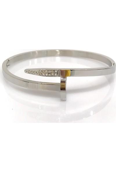 Magümüş Maç028 Çivi Tasarım Taşlı 316 L Kalite Bayan Çelik Bileklik