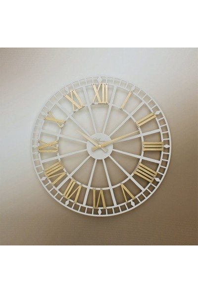Ultima Regal Ultima Regal Ferforje Küçük Boy Krem İskelet Altın Varak Roma Rakamlı Duvar Saati
