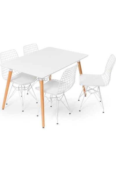 Hamdeko Eames Masa Beyaz Metal Sandalye Takımı