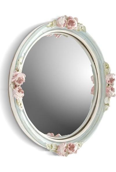 Cemile Pembe Çiçeklı Yuvarlak Ayna 30 x 30 6