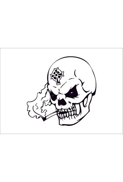 Başaran Sticker Skull Head Kafa Tası 3 Araba Arma Sticker