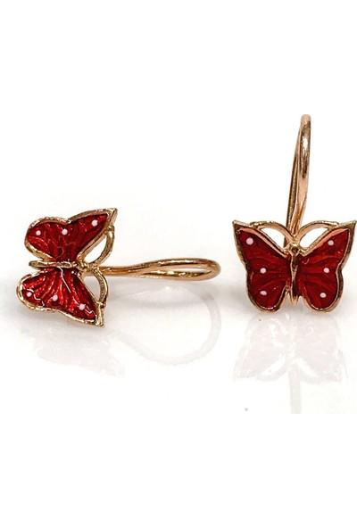 Magümüş Yeni Minik Kırmızı Kelebek Gümüş Çocuk Küpe Küpesi