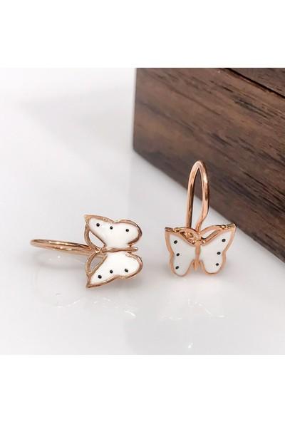 Magümüş Yeni Minik Beyaz Kelebek Gümüş Çocuk Küpe Küpesi