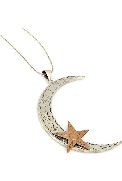 Magümüş Ayyıldız Otantik Büyük Boy El İşçiliği Gümüş Ay Yıldız Kolye