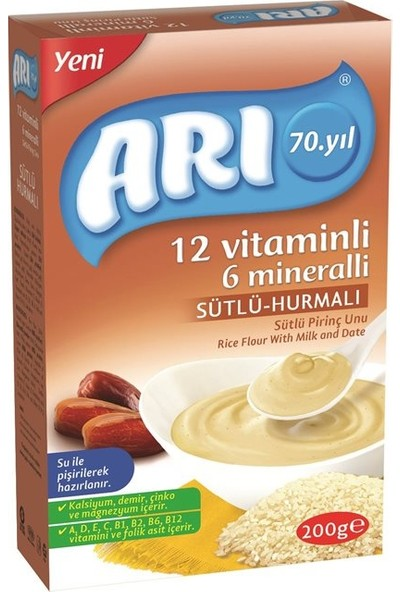 Arı 12 Vitaminli 6 Mineralli Sütlü Hurmalı Pirinçli 200 gr