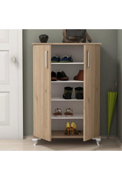 Bimossa R6020 Ceviz Ayakkabılık Çok Amaçlı Raflı Düzenleyici Dolap 100 cm