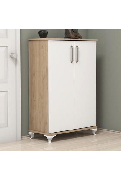Bimossa R6030 Ceviz - Beyaz Ayakkabılık Çok Amaçlı Raflı Düzenleyici Dolap 100 cm