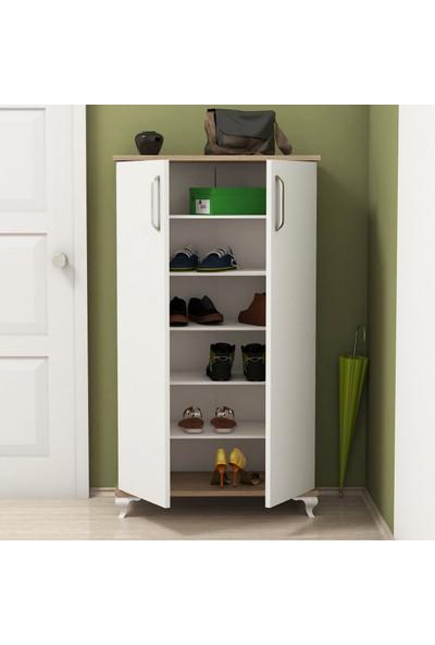 Bimossa R7030 Ceviz - Beyaz Ayakkabılık Çok Amaçlı Raflı Düzenleyici Dolap 120 cm