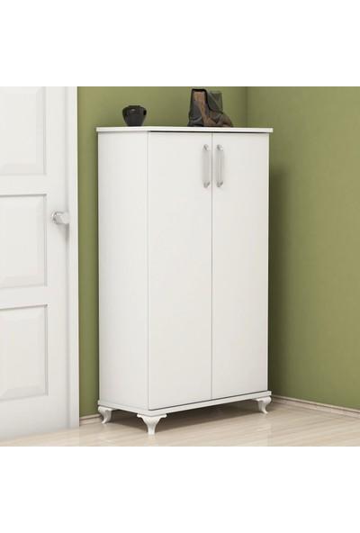 Bimossa R7040 Beyaz Ayakkabılık Çok Amaçlı Raflı Düzenleyici Dolap 120 cm