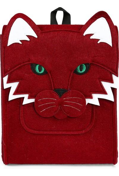 Yaratıcı Tasarım Kedi Figürlü Çocuk Çantası Kırmızı