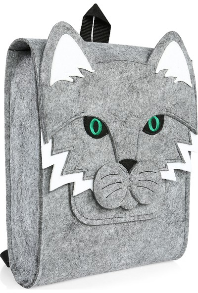 Yaratıcı Tasarım Kedi Figürlü Çocuk Çantası Gri