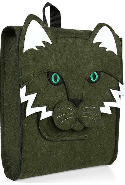 Yaratıcı Tasarım Kedi Figürlü Çocuk Çantası Yeşil