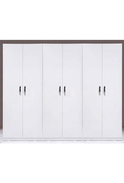Hepsiburada Home Stella 6 Kapaklı 3 Çekmeceli Gardırop - Beyaz