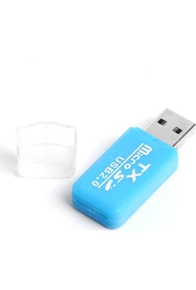 TX USB2.0 microSD Harici Kart Okuyucu - Mavi (TXACUCR204BL)