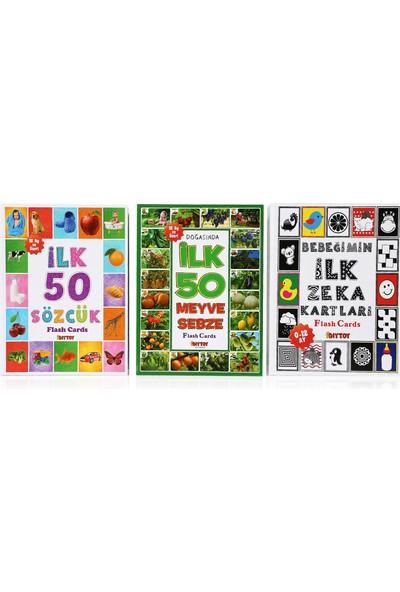 Diy-Toy 3'lü Flash Kart Seti (ilk 50 Sözcük ilk 50 Hayvan ve ilk 50 Meyve Sebze)