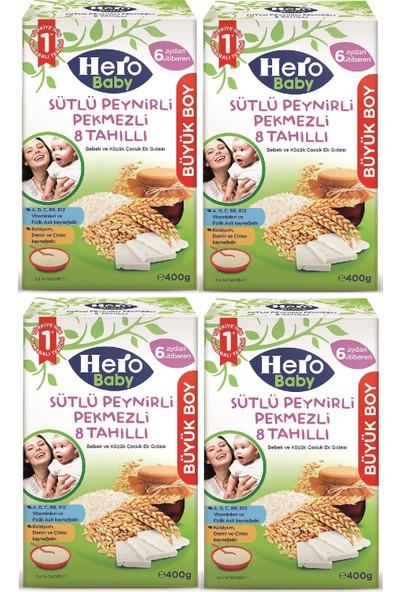 Hero Baby 400 gr Sütlü Peynirli Pekmezli 8 Tahıllı 4'lü Set Kaşık Maması