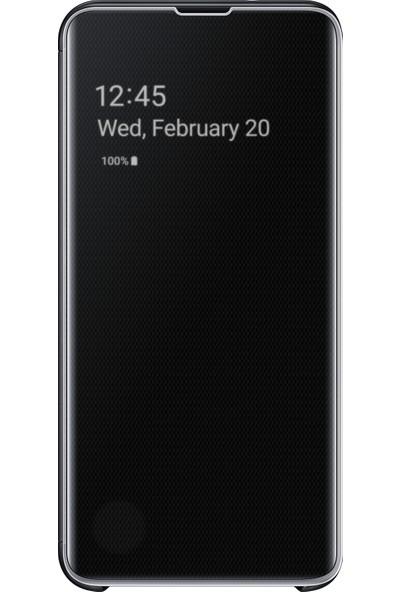 Samsung S10e Clear View Cover (Siyah)-EF-ZG970CBEGWW