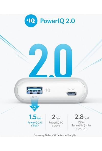 Anker PowerCore II 10000 mAh Taşınabilir Şarj Aleti Powerbank - PowerIQ 2.0 (18W'a kadar çıkış gücü) - Beyaz - A1230H21 - OFP