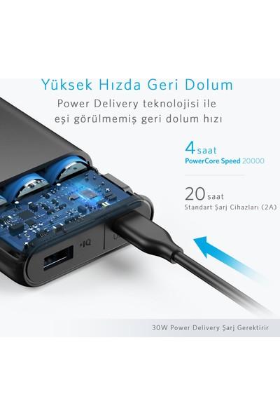 Anker PowerCore Speed 20000 mAh PD Taşınabilir Şarj Aleti Powerbank - Power Delivery- USB-C Giriş ve Çıkış - Macbook Uyumlu - Siyah - A1275011 - ONP
