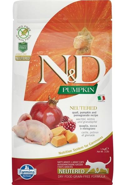 N&D Pumpkin Tahılsız Bıldırcın Etli Bal Kabaklı ve Narlı Kısırlaştırılmış Kedi Maması 1,5 Kg