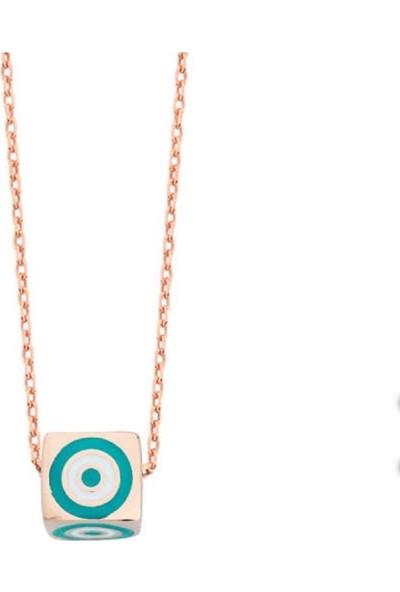Serpil Jewellery Rose Rengi Nazarlı Zar Gümüş Kolye