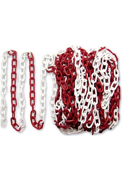 Evelux Plastik Zincir Kırmızı-Beyaz 25 M