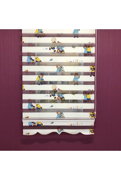 Payidar Caillou 1461 Renkli Çocuk Odası Zebra Perde Etek Dilimli