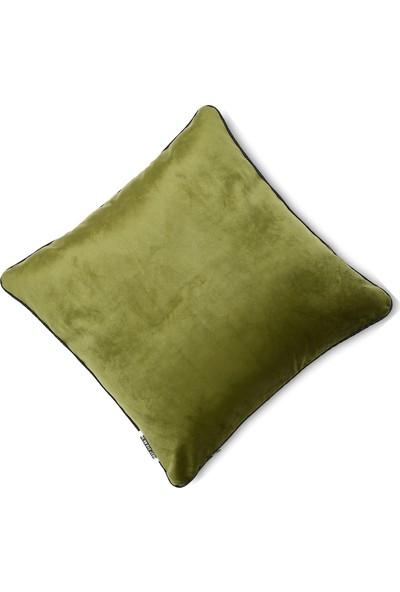 Yaratıcı Tasarım Kadife Döşemelik Kumaşa Biyeli Kırlent Kırlent Yeşil