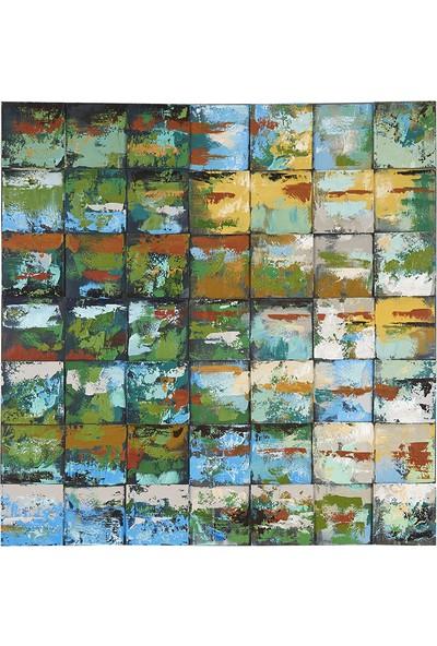 Decosuar Ahşap Kabartmalı El Yapımı Yağlı Boya Tablo 100X100 cm
