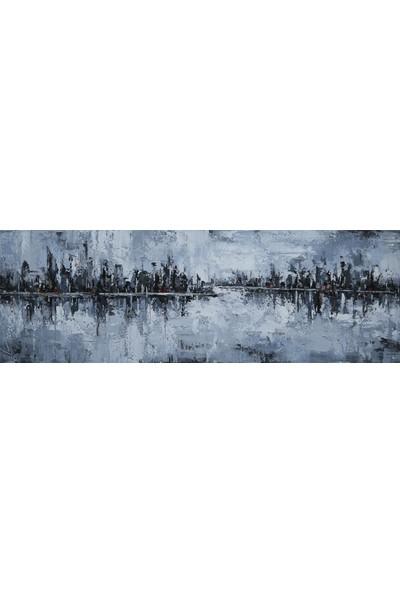 Decosuar Kanvas Baskı Üzeri El Yapımı Yağlı Boya Tablo 50X150 cm