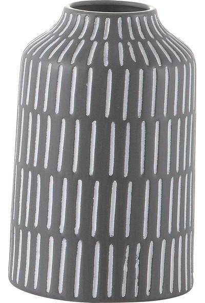 Decosuar Siyah Üzeri Beyaz Çizgili Seramik Vazo - Küçük