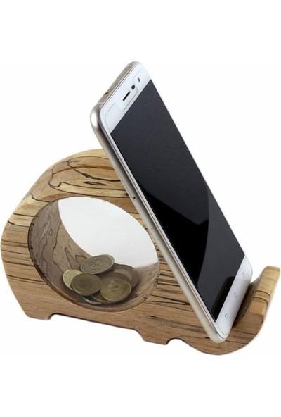Gürgen Palamut Ahşap Doğal Görünümlü Fil Tasarımlı Kumbaralı Telefon Tutucu