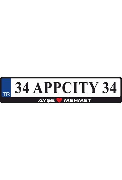 Appcity Kişiye Özel İsimli Kalpli Plakalık