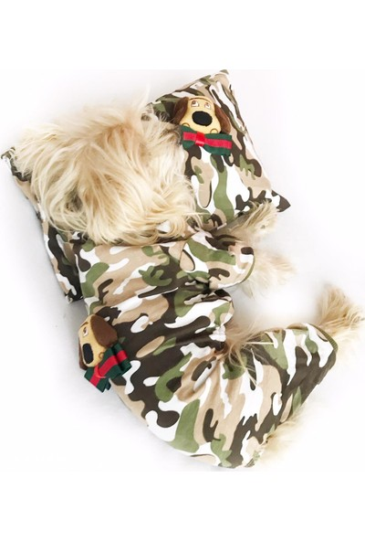 Kemique Dog Camouflage Penye Tulum Yastık Takım Uyku Set Köpek Tulumu Köpek Elbisesi XXL