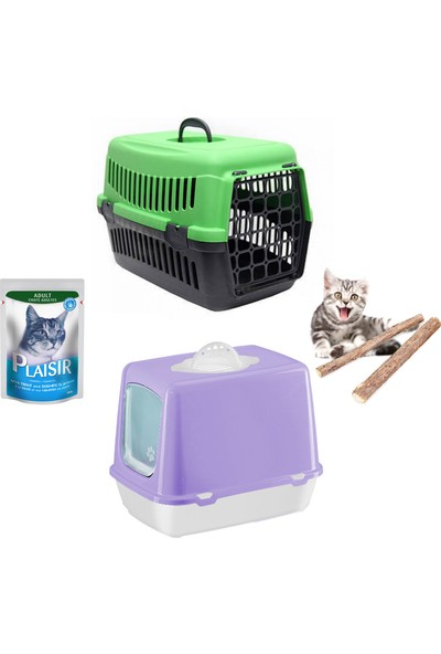 Petfony Kapalı Kedi Tuvaleti, Kedi Taşıma Çantası, Yaş Mama, Catnip