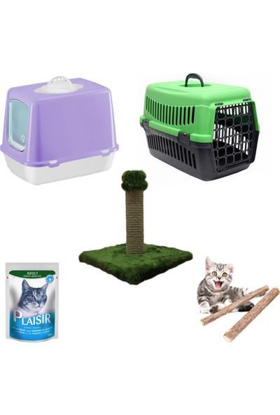 Petfony Kapalı Kedi Tuvaleti, Kedi Taşıma Çantası,Yaş Mama,Tırmalama
