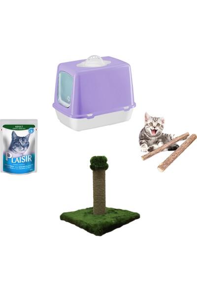 Petfony Kapalı Kedi Tuvaleti, Tırmalama, Plasir Yaş Mama, Catnip