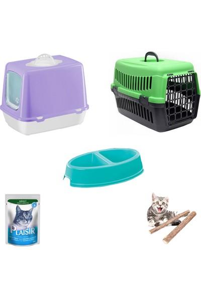 Petfony Kapalı Kedi Tuvaleti,Kedi Taşıma Çantası ,Mama Kabı,Catnip