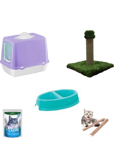 Petfony Kapalı Kedi Tuvaleti,Yaş Mama,İkili Mama Kabı,Tırmalama