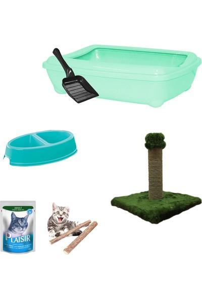 Petfony Açık Kedi Tuvaleti,Tırmalama,İkili Mama Kabı,Yaş Mama,Catnip