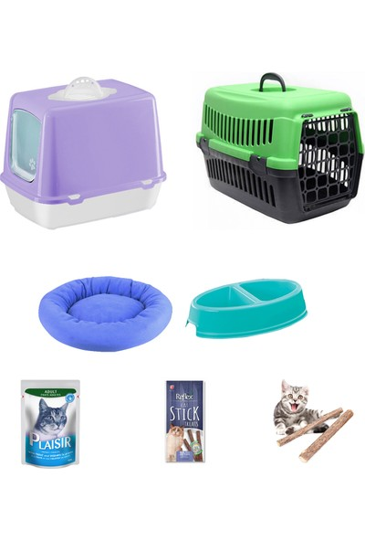 Petfony Kapalı Kedi Tuvaleti, Kedi Taşıma Çantası,Mama Kabı,Yatak