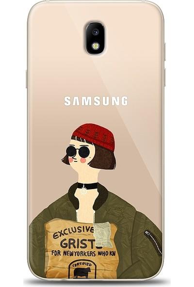 Eiroo Samsung Galaxy J7 Pro 2017 Leon Mathilda Baskılı Tasarım Kılıf