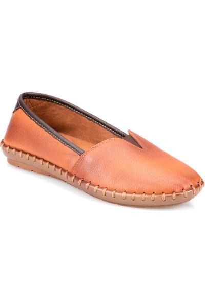 Polaris 91.108870.Z Taba Kadın Deri Zımbalı Ayakkabı